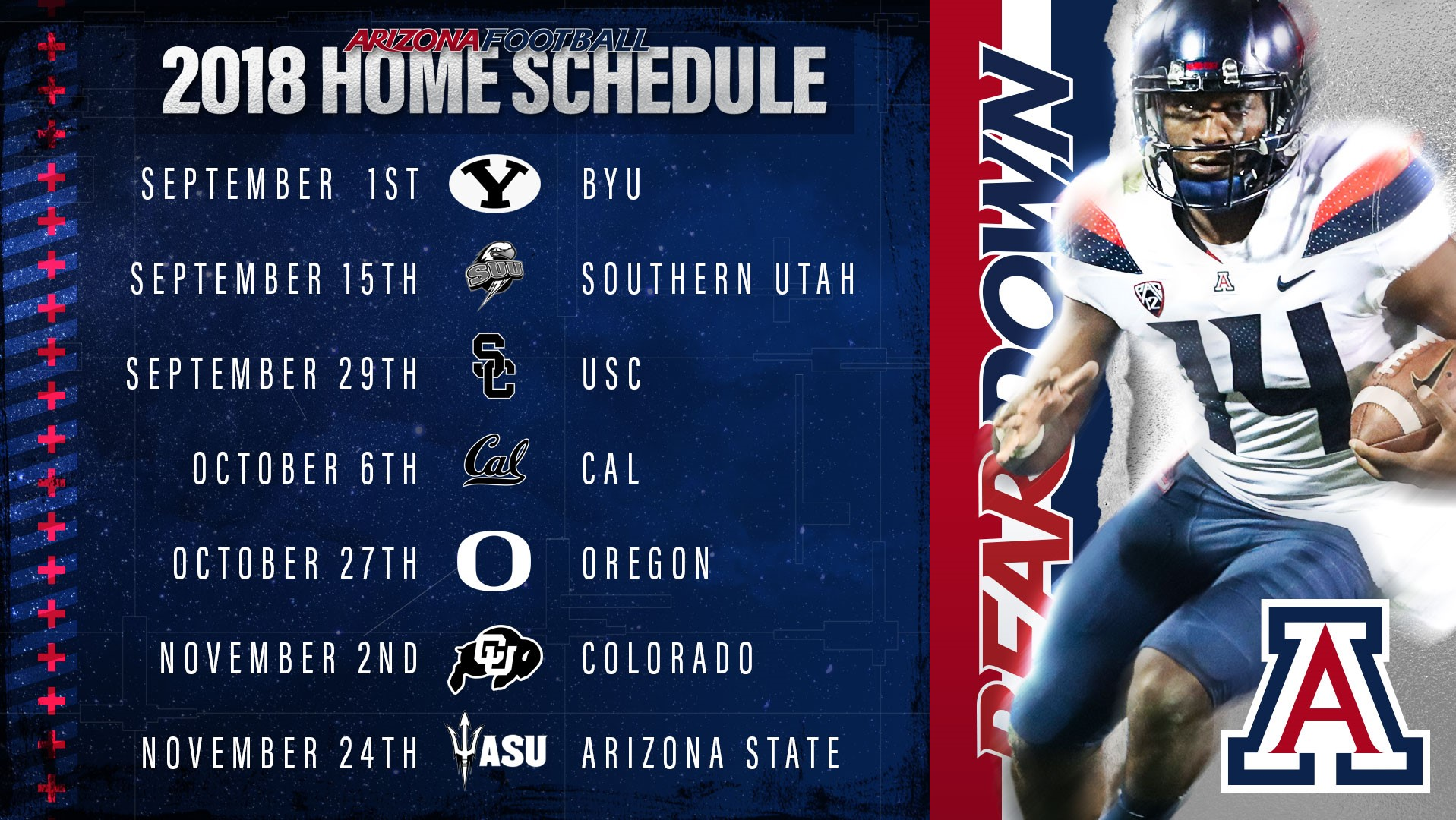 Schedule Released For 2018 Arizona Football Season - University of ... 984cb7b66590f