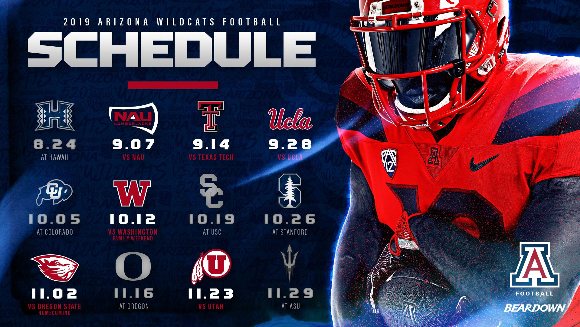University Of Arizona Calendar 2020 2019 Arizona Football Schedule Announced   University of Arizona