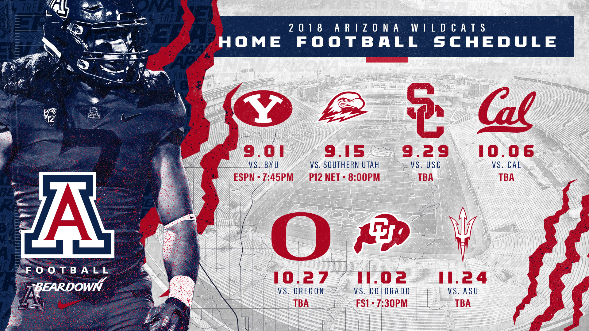 start times set for three home football games - university of
